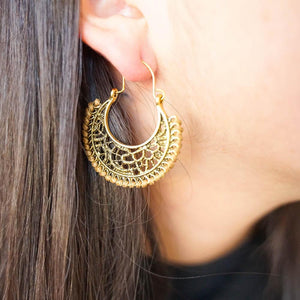 Embroidered Drop Earrings-JEWELLERY / EARRINGS-Jeab and Ru (THA)-Sun-Brown-The Outpost NZ