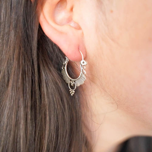 Fan Hoop Silver Earrings-JEWELLERY / EARRINGS-Mimi Silver (THA)-The Outpost NZ