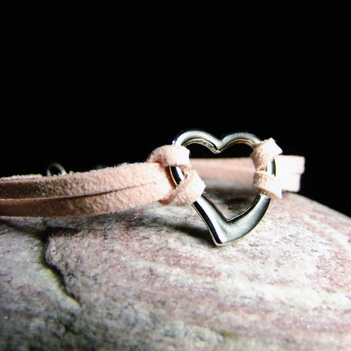 Faux Leather Bracelets-JEWELLERY / BRACELET-Choo Choo (THA)-Heart-Pink-The Outpost NZ