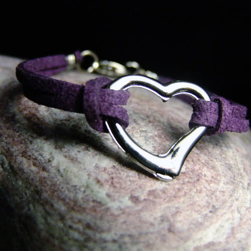 Faux Leather Bracelets-JEWELLERY / BRACELET-Choo Choo (THA)-Heart-Purple-The Outpost NZ