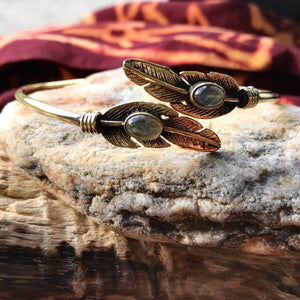 Feather Brass Bangle-JEWELLERY / BANGLE-Gopal Brass Man (IND)-Labradorite-The Outpost NZ