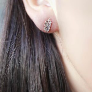 Feather Plume Silver Stud Earrings-JEWELLERY / EARRINGS-Mimi Silver (THA)-The Outpost NZ