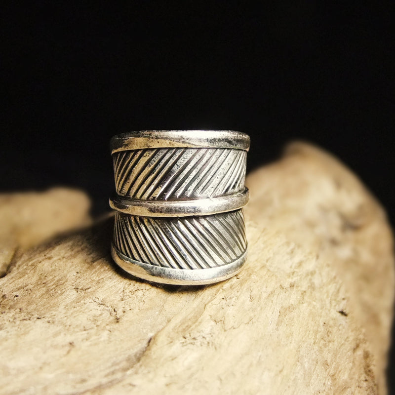 Feather Wide Silver Ring-JEWELLERY / RINGS-Jewelery Center (THA)-52-The Outpost NZ
