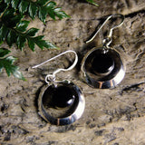 Floating Silver Earrings-JEWELLERY / EARRINGS-1000 Design (THA)-Black-Crescent 16mm-The Outpost NZ