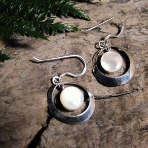 Floating Silver Earrings-JEWELLERY / EARRINGS-1000 Design (THA)-Mother of Pearl-Crescent 16mm-The Outpost NZ