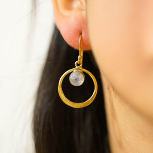 Floating Stone Earrings-JEWELLERY / EARRINGS-Gopal Brass Man (IND)-Brass-Moonstone-The Outpost NZ