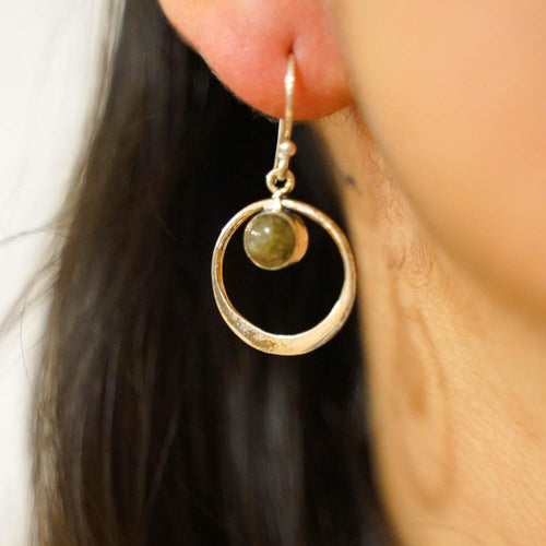 Floating Stone Earrings-JEWELLERY / EARRINGS-Gopal Brass Man (IND)-Sliver Plated-Labradorite-The Outpost NZ