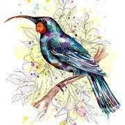 Floral Huia Print-NZ ART-Fiona Clarke (NZ)-The Outpost NZ