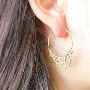 Flower Buds Earrings-JEWELLERY / EARRINGS-Gopal Brass Man (IND)-Brass-The Outpost NZ