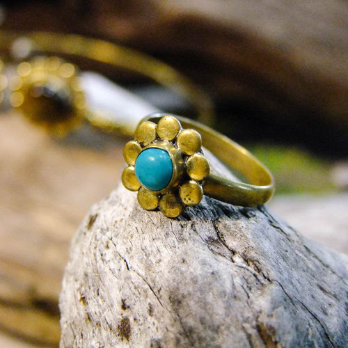 Flower Stone Brass Ring-JEWELLERY / RINGS-Gopal Brass Man (IND)-Howlite-The Outpost NZ