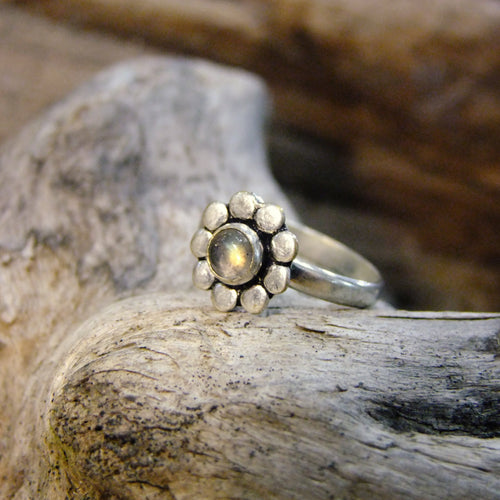 Flower Stone Silver Plated Ring-JEWELLERY / RINGS-Gopal Brass Man (IND)-Labradorite-The Outpost NZ