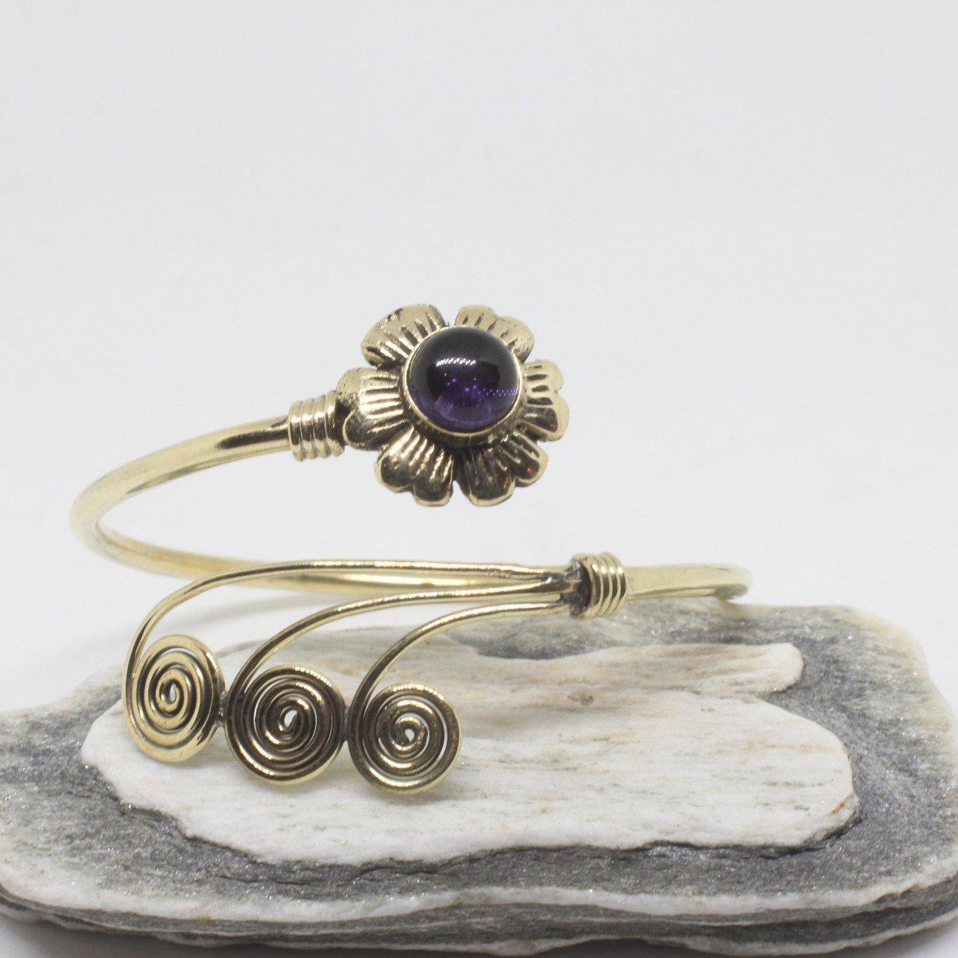 Flower Swirl Brass Bangle-JEWELLERY / BANGLE-Gopal Brass Man (IND)-Amethyst-The Outpost NZ
