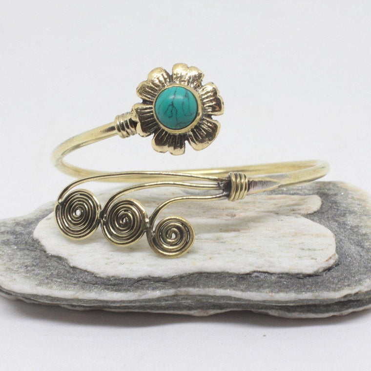 Flower Swirl Brass Bangle