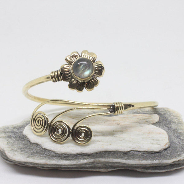Flower Swirl Brass Bangle-JEWELLERY / BANGLE-Gopal Brass Man (IND)-Labradorite-The Outpost NZ