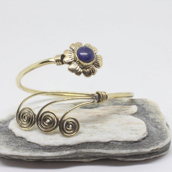 Flower Swirl Brass Bangle-JEWELLERY / BANGLE-Gopal Brass Man (IND)-Lapis Lazuli-The Outpost NZ