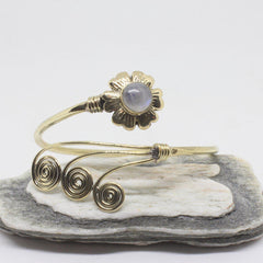 Flower Swirl Brass Bangle-JEWELLERY / BANGLE-Gopal Brass Man (IND)-Moonstone-The Outpost NZ