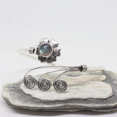 Flower Swirl Silver Plated Bangle-JEWELLERY / BANGLE-Gopal Brass Man (IND)-Labradorite-The Outpost NZ