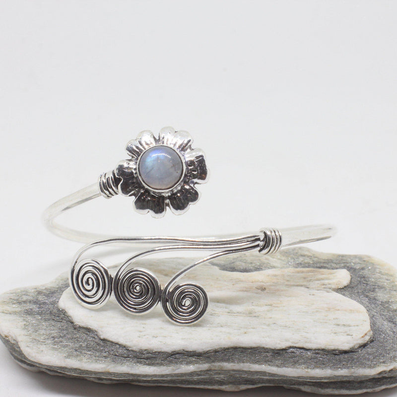 Flower Swirl Silver Plated Bangle-JEWELLERY / BANGLE-Gopal Brass Man (IND)-Moonstone-The Outpost NZ