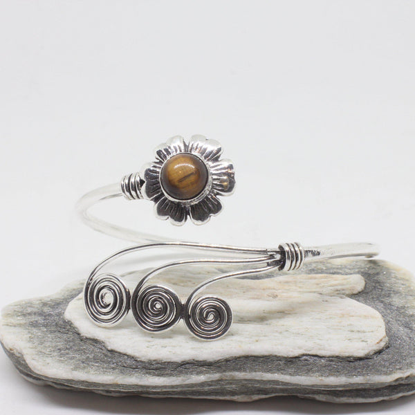 Flower Swirl Silver Plated Bangle-JEWELLERY / BANGLE-Gopal Brass Man (IND)-Tigers Eye-The Outpost NZ