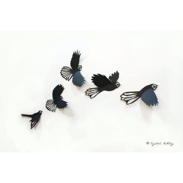 Flying Flock of Fantails ACM-NZ ART-Crystal Ashley (NZ)-Black-150mm wide-The Outpost NZ