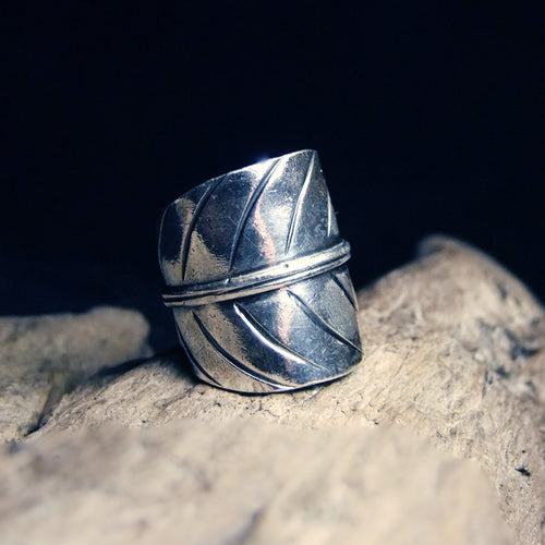 Folded Leaf Wide Silver Ring-JEWELLERY / RINGS-Jewelery Center (THA)-52-The Outpost NZ