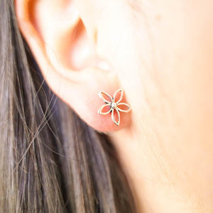 Frangipani Silver Studs-JEWELLERY / EARRINGS-Mimi Silver (THA)-The Outpost NZ