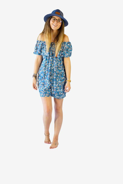 Frill Bardot Playsuit-CLOTHING / JUMPSUIT-Big Colour (THA)-Leaf-Blue-The Outpost NZ