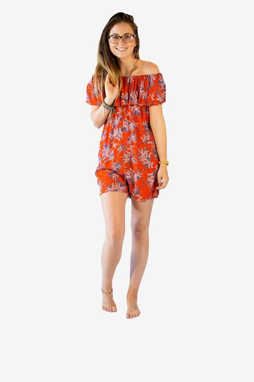 Frill Bardot Playsuit-CLOTHING / JUMPSUIT-Big Colour (THA)-Spray Blossom-Red-The Outpost NZ
