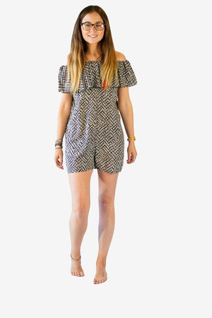 Frill Bardot Playsuit-CLOTHING / JUMPSUIT-Big Colour (THA)-Weave-Black-The Outpost NZ