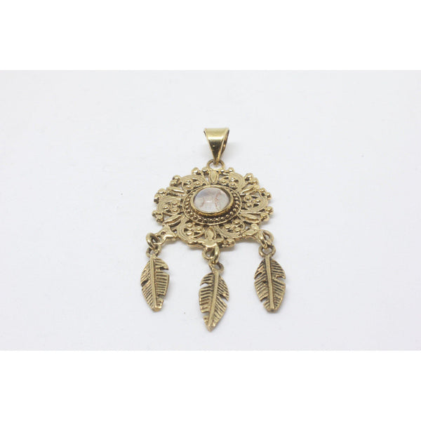 Gemma Brass Pendant-JEWELLERY / NECKLACE & PENDANT-Gopal Brass Man (IND)-Moonstone-The Outpost NZ