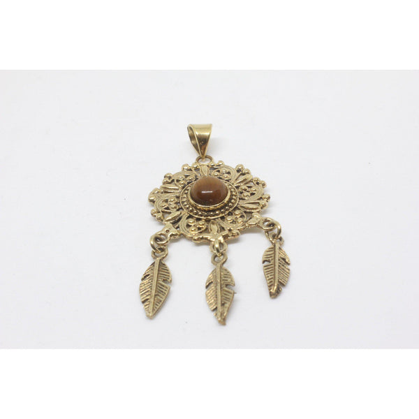 Gemma Brass Pendant-JEWELLERY / NECKLACE & PENDANT-Gopal Brass Man (IND)-Tigers Eye-The Outpost NZ