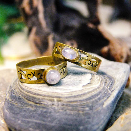 Gemma Brass Ring-JEWELLERY / RINGS-Gopal Brass Man (IND)-Moonstone-The Outpost NZ
