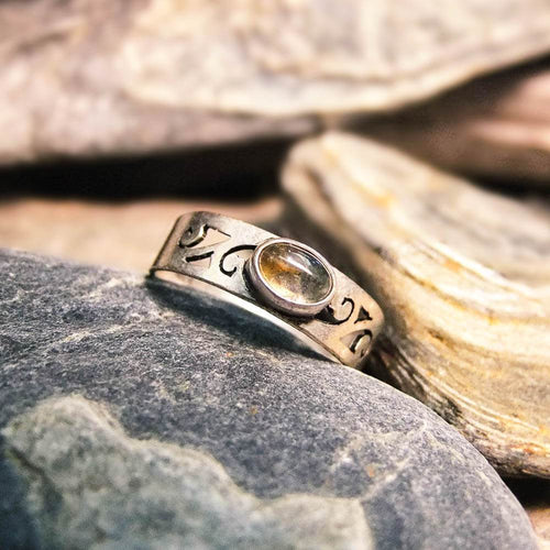 Gemma Silver Plated Ring-JEWELLERY / RINGS-Gopal Brass Man (IND)-Labradorite-The Outpost NZ