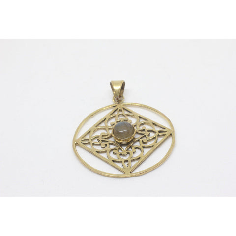 Geneva Brass Pendant-JEWELLERY / NECKLACE & PENDANT-Gopal Brass Man (IND)-Moonstone-The Outpost NZ