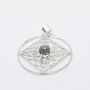 Geneva Silver Plated Pendant-JEWELLERY / NECKLACE & PENDANT-Gopal Brass Man (IND)-Labradorite-The Outpost NZ