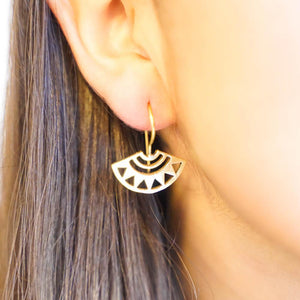 Geo Fan Earrings-JEWELLERY / EARRINGS-Gopal Brass Man (IND)-Brass-The Outpost NZ