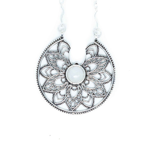 Girih Silver Plated Necklace-JEWELLERY / NECKLACE & PENDANT-Gopal Brass Man (IND)-Moonstone-The Outpost NZ