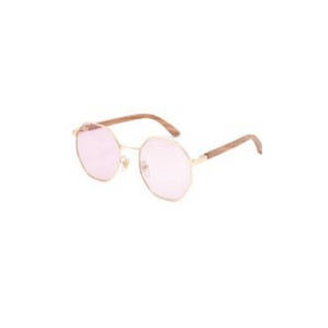 Glencoe Sunnies (P)-ACCESSORIES / SUNGLASSES-Lonsy Eyewear International Co.Ltd (CHI)-Metal, Bamboo, Pink Octagon Lense-The Outpost NZ