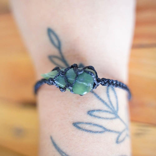 Greenstone Macrame Bracelet-JEWELLERY / BRACELET-Not specified-Caged-Black-The Outpost NZ
