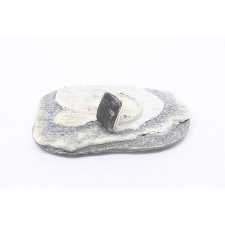 Haeata Thin Silver Greenstone Ring