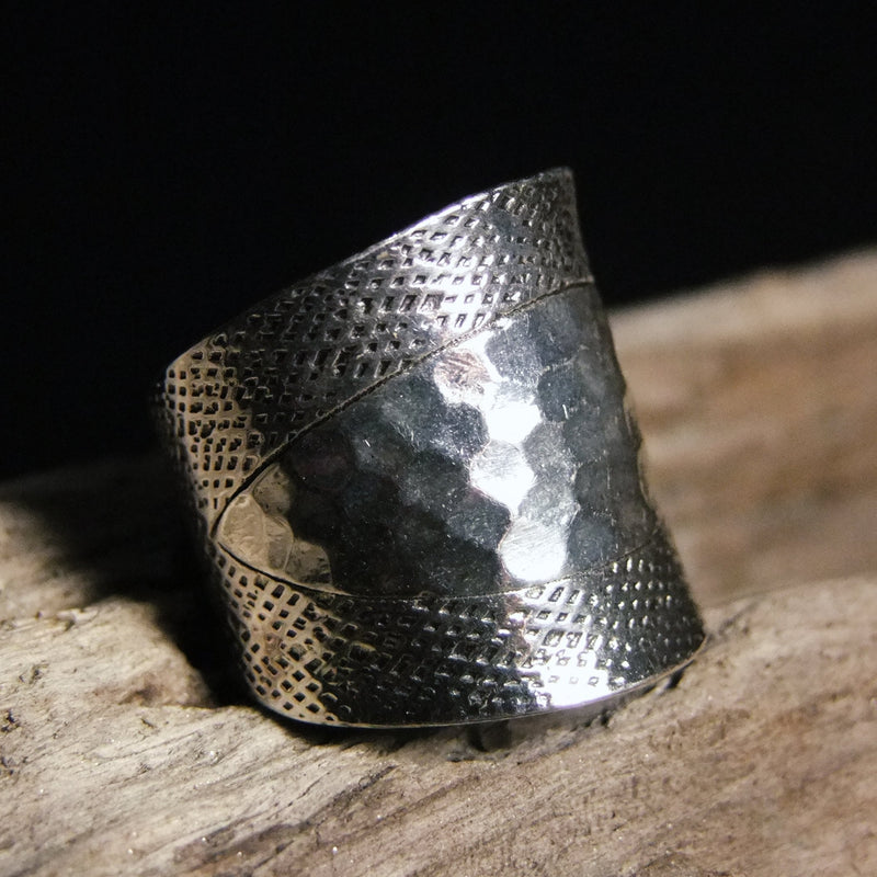 Hammered Dot Wide Silver Ring-JEWELLERY / RINGS-Jewelery Center (THA)-52-The Outpost NZ