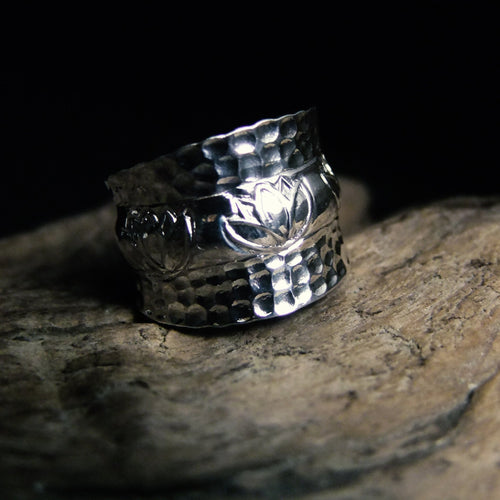 Hammered Lotus Silver Ring-JEWELLERY / RINGS-Jewelery Center (THA)-52-The Outpost NZ