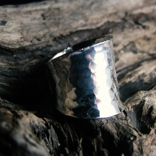 Hammered Wide Silver Ring-JEWELLERY / RINGS-Jewelery Center (THA)-52-The Outpost NZ