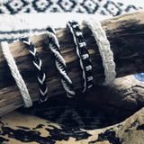 Handwoven Cotton Bracelet-JEWELLERY / BRACELET-Wattanaporn (THA)-Black/White-The Outpost NZ