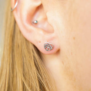Heart Around Tree of Life Silver Stud Earrings-JEWELLERY / EARRINGS-Mimi Silver (THA)-The Outpost NZ