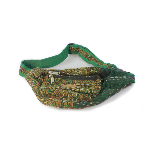 Hip Bag-ACCESSORIES / BAGS-BRIJWASI (IND)-Green-Block Print-The Outpost NZ