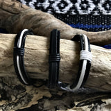 Hira Leather Bracelets-JEWELLERY / BRACELET-Hira Fashion (THA)-Black and Grey-The Outpost NZ