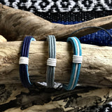 Hira Leather Bracelets-JEWELLERY / BRACELET-Hira Fashion (THA)-Blue-The Outpost NZ