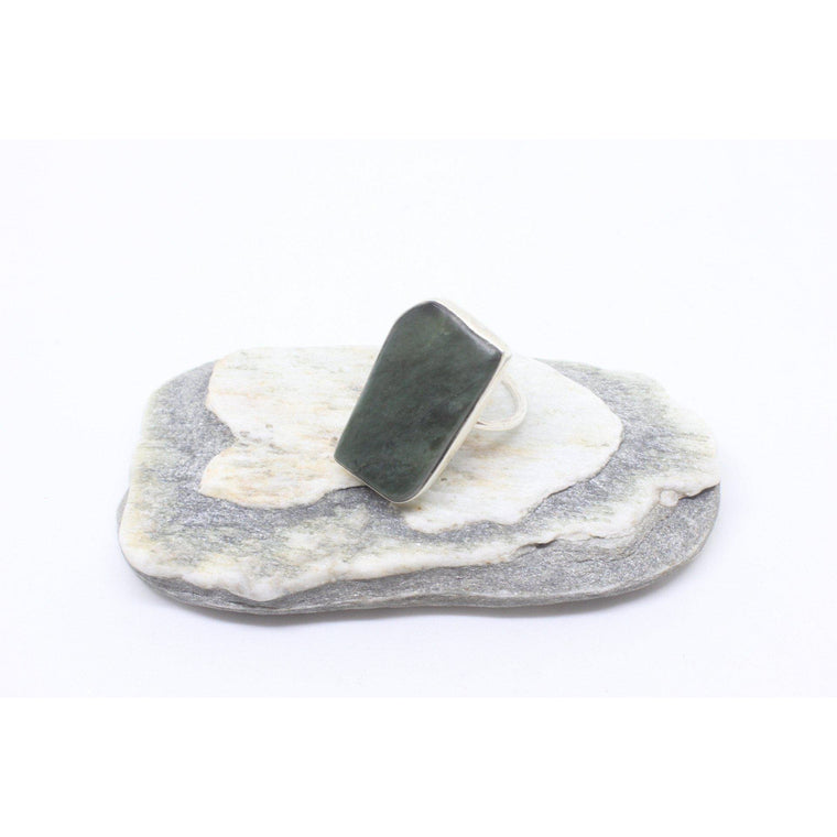 Hokaka Thin Silver Greenstone Ring