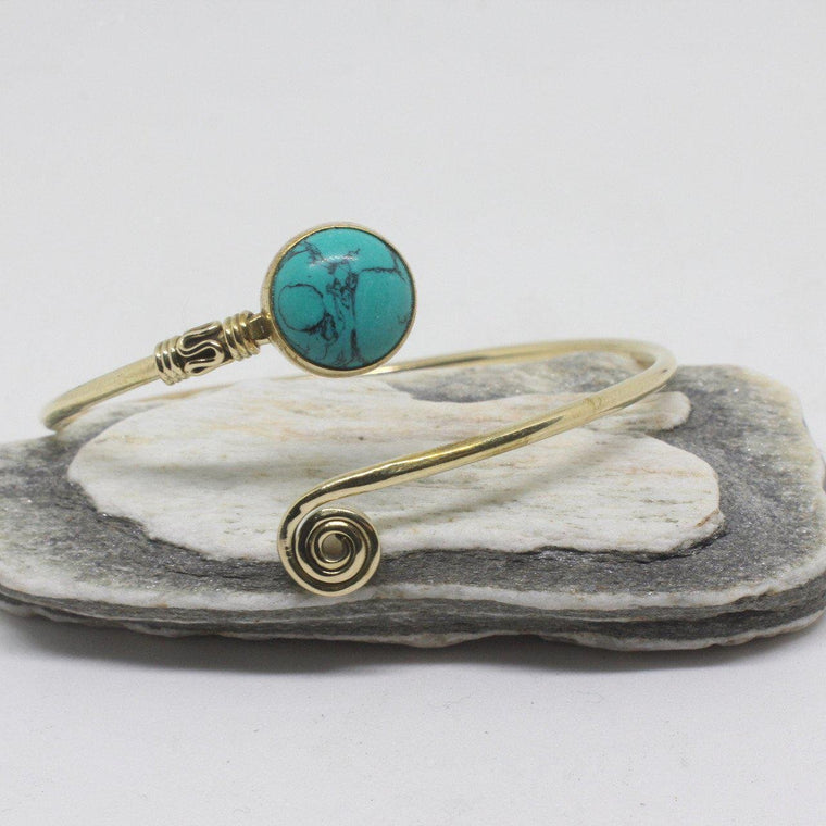 Ianthe Stone Brass Bangle
